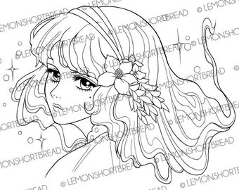 Digital Stamp Nouveau Flowers Girl, Digi Coloring Page, Floral Fantasy, Fairy Anime, Clip Art, Scrapbooking Supplies, Instant download