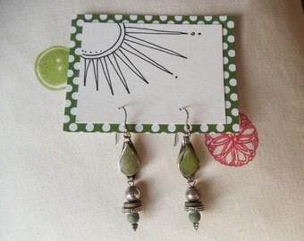 Green & silver dangle beaded earrings