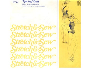 70s Misses Racing Back One Piece Swimsuit - Vintage Sewing Pattern Stretch and Sew 1352 - All Sizes Bust 30-42 Uncut