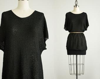 90s Vintage Black Knit Slouchy Tunic Mini Sweater Dress / Size Small / Medium