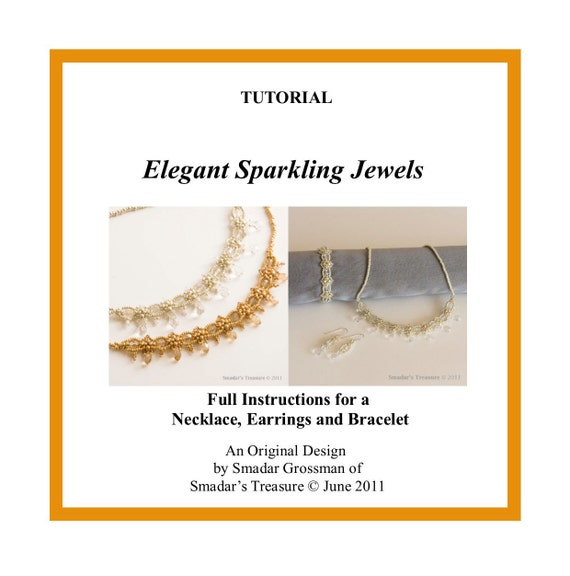 Beading Tutorial, Elegant Sparkling Necklace, Bracelet, Earrings. Pattern with Crystals and Seed Beads. Jewelry Making Pattern, Beadweaving