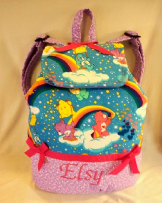 Care Bear Rainbow hearts back pack school book bag or diaper bag pick favoite bear front add name great birthday gift college size too