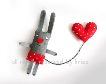 Rabbit Brooch Cute Hipster Brooch Red Heart Unique Gift