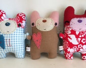 Love Buddy Bear Friendly - Stuffed Plush Needle Felted and Embroidered Art Friend