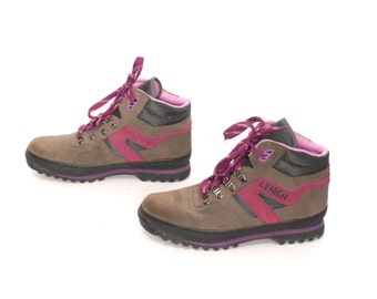 size 8 LE HIGH pink purple leather 80s 90s HIKING grunge lace up ankle boots
