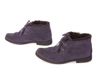 size 9.5 GRUNGE purple suede leather 80s 90s FUR CUFF lace up hiking ankle boots