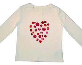 Heart Tee Shirt / Button T-Shirt / Girls Top / Children's Clothes / Baby Shirt