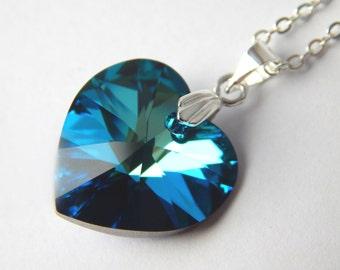 Blue Swarovski Heart Necklace - Bermuda Blue Crystal - Deep Blue Crystal Necklace - Swarovski Elements - Teal Heart Pendant - Something Blue