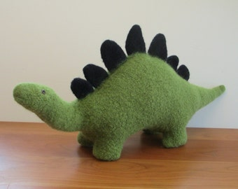 Stegosaurus Stuffed Animal, Handmade Plush Dinosaur, Green Wool