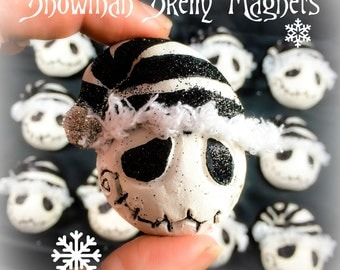 Skelly Snowman Magnet - Handmade - NBC Inspired - Black and White - Tim Burton Inspired - Gifts under 10