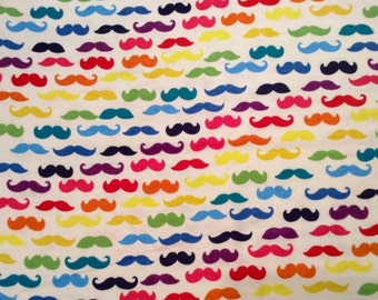 Almost gone....RAINBOW MUSTACHE flannel lounge pants/pajama pants children's sizes 0-3 to 5T.