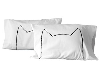 Gift for Couples: Cat Pillowcase Set / 4 colors, bedding cotton anniversary gift for her catnap pillow cases, Queen Bedding, cat lover gift