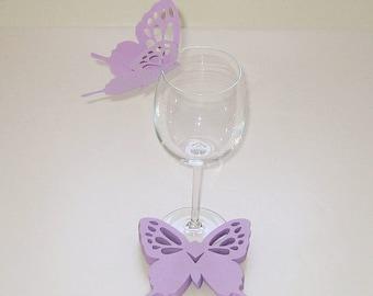 Wine Glass Butterfly Card Pastel Lavender Wedding Shower Anniversary Birthday  (50)