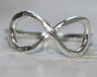 Infinity Ring, Size 3 Pinky Ring, Fine Silver Eternity Riing, Rustic Handmade Ring, Friendship Ring, Promise Ring by Maggie McMane Designs