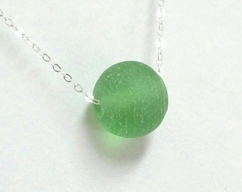 Sea Glass Necklace, Reclaimed Glass Necklace, Green Necklace, Recycled Sea Glass Necklace, Glass Necklace, Green Bead Necklace Maggie McMane
