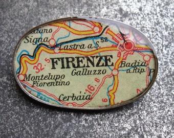 Firenze Map Oxidized Sterling Silver Brooch