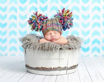 NEWBORN Photography Prop - Baby Knit Hat - Twin Prop - PeachPoshPolkadots - Handdyed and Handspun yarn - PHOTO 2 - EVEREST