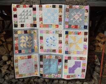 Beautiful Girly Sampler Quilt with Traditional Blocks