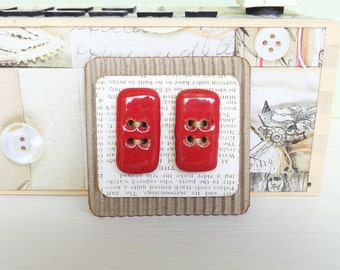 Toggle Shape Stoneware Buttons in Bright Shiny Red Glaze - Set of 2