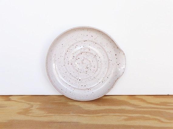 Spoon Rest Stoneware Ceramic in Glossy White Glaze w