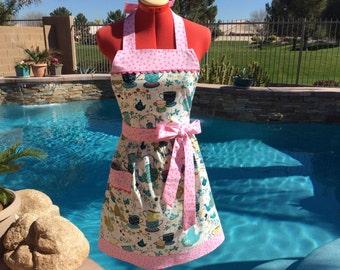 Sassy Apron, Retro style with gathered waist and towel loop, Womens, Kitchen Apron, Full, Handmade, Tiana Tea Service