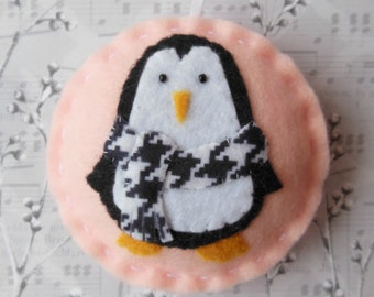 Felt Penguin Christmas Ornament - Cozy Winter Penguin Holiday Chic- SALE