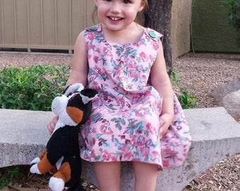Floral Roses Romper Jumper Toddler ALine Dress SZ 2 3T