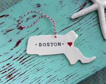 Massachusetts Ornament with Town or Zip Code and heart