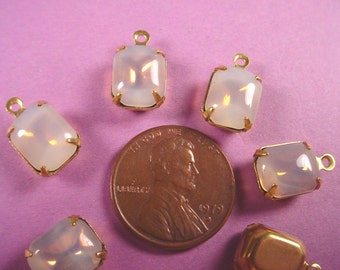 Vintage Amethyst Sabrina Opal Glass Octagon Stones 10x8 in Brass Prong Settings 1 Ring Closed Backs - 4 Pieces