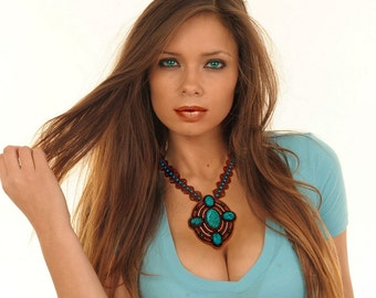 Beaded Turquoise Cabochons with seed beads and Swarovski Chain 16 inches necklace, NC-0125