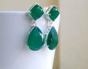 Angelina Jolie Inspired Emerald Green Onyx Stone Silver Dangle stud Earrings