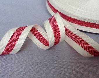 "Twill tape ribbon with a woven centre stripe, herringbone french cotton ribbon, 3/4"" wide"
