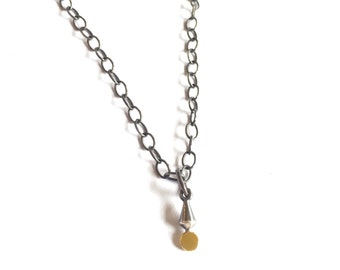 Tiny Pendulum Plumb Bob Drop Necklace Gold Silver Pendant Artisan Jewelry Dainty Teeny Microjewelry Oxidized
