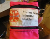 Medical Alert Epi Pen® or Auvi-Q ® weather proof case pouch carrier insulated zippered bag with additional pocket ---deluxe epipen carrier