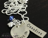 hand stamped sweet 16 necklace  - sterling silver-  with puffed heart charm and birthtstone - birthday gifts