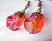 Pomegranate Seeds Earrings antiqued brass red orange pink glass bead large drop earrings for women wavy fuchsia beadwork Persephone jewelry