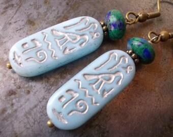 Papyrus Earrings Egyptian Hieroglyphs dangle earrings blue glass antiqued brass azurite malachite gemstone stone bead symbolic drops Egypt