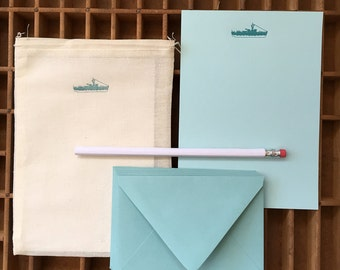 letterpress ship letter writing set