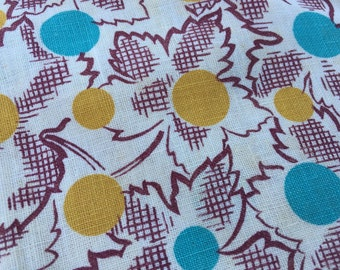 Vintage Teal and Yellow Print Feed Sack/Feedsack Fabric (No Longer a Sack)