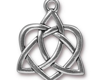 Large Celtic Open Heart, Antique Silver, TierraCast Celtic Collection, TS98