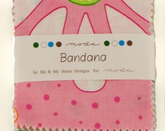 SALE 1 MINI charm pack BANDANA Moda Fabric by Me & My Sister Designs