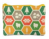 Catan Bag / Board Game Zipper Pouch / Small Wallet in Settlers Print
