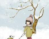 Nursery art print baby nursery decor  Kids art  My Lovely Tree in Winter  Poster,  Reading , Poster Wall art
