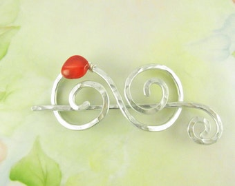 Silver Double Spiral Shawl Pin with Bamboo Coral