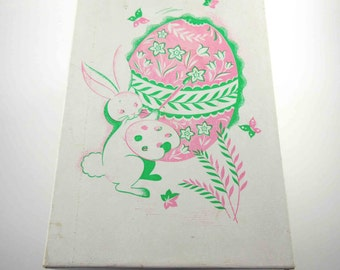 Vintage Large Cardboard Easter Candy Box with Rabbit and Easter Egg Pink Green White