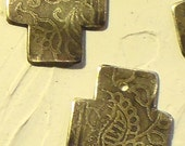 Small Etched Paisley Cross Brass