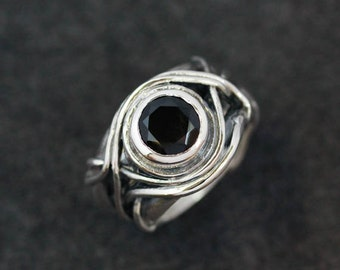 Sterling Silver and Black Garnet Gemstone , Milificent Ring, Ready To Ship size 7.5