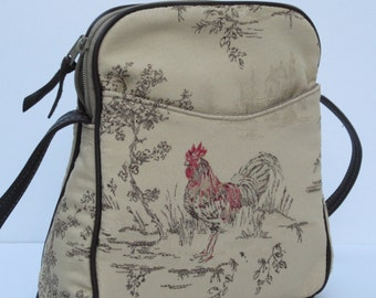 SMALL SHOULDER BAG Fabric and Leather  French Vanilla Rooster
