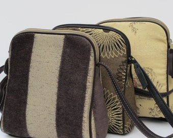 Small SHOULDER BAG  Fabric and Leather Shimmery Stripes