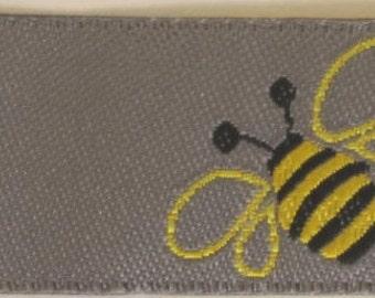 2 yards BUMBLE BEES Jacquard trim. Black yellow on silvery grey. 7/8 inch wide. 2002-A